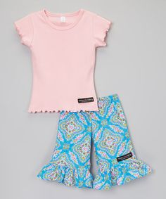This Pink & Blue Ruffle Tee & Floral Ruffle Pants - Toddler & Girls by Fabulous Girl Clothing is perfect! #zulilyfinds