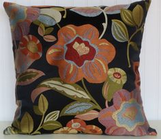 Orange  Decorative   Pillow Cover---18x18 or 20x20 or 22x22-- Floral Throw Pillow-- Accent Green Black, Yellow, Blue,Yellow, Blue,Purple