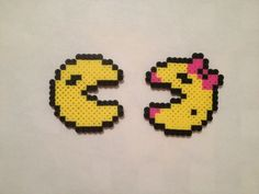 Pacman Ms Pacman Perler Beads video game geekery by SongbirdBeauty, $4.00. All items can be turned into magnets for no additional cost.