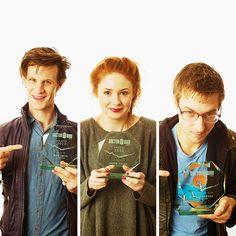 Doctor Who: Matt Smith, Karen Gillan, and Arthur Darvill Gentlemans Club, Rose Tyler, Virginia Woolf, Studio Ghibli, Arthur Darvill, Hello Sweetie, Karen Gillan, Never Stop Dreaming, Amy Pond