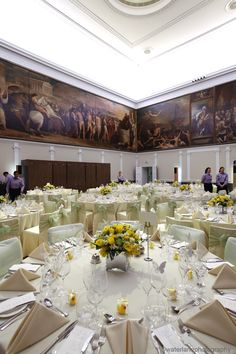 RSA House Great Room. Green and Yellow spring colours!  Waterlanephotography RSA House  London Wedding