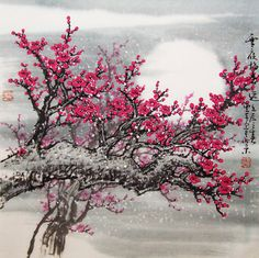 Original painting oriental art chinese art Lovely cherry by art68, $128.00
