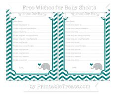 Teal Chevron  Baby Elephant Wishes for Baby Sheets