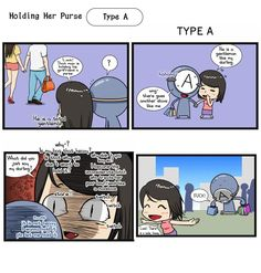 Holding purse: A Blood Type Personality, Types Of Purses, My Darling, Blood Types, Horoscope, Hold On, Zodiac, Comics, Simple