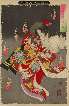 月岡芳年『新形三十六怪撰』より「二十四孝狐火之図」 (844×1280)