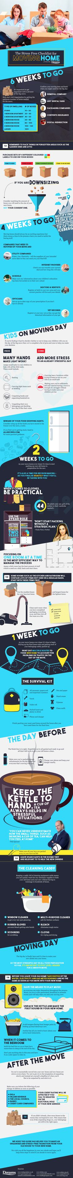 The Stress-Free Checklist For Moving Home #Infographic #Travel