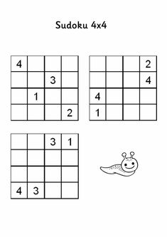 Sudoku dla dzieci Sudoku Puzzles, Printable Puzzles, 4x4, Pool Party Decorations, Toddler Learning Activities, Puzzle Books, Fun Cup, Math For Kids, Outdoor Photography