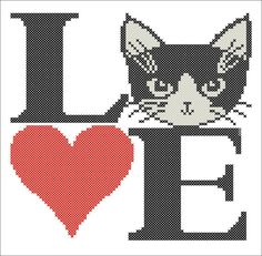 BOGO FREE  I   Love CATS cross stitch pdf Pattern  pdf