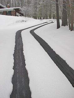 Heated Tire Tracks Allow Use Of Steep Driveway During