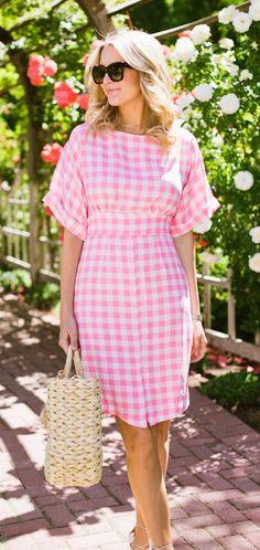 Pink Gingham Dress + Beach Tote Bag