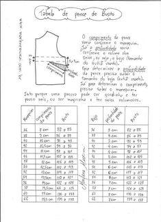 Tabela padrão de comprimento e profundidade de pence de busto.