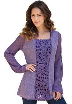 Plus Size Crochet Hooded Sweater image -- would be pretty to insert crochet squares in existing top.