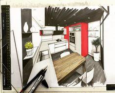 """""""✏️ #draw #handmade #feutre #promarker #architectureinterieure #architecture…"""
