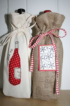 redneedle sewing: Handmade Monday - Wine Bottle Gift Bag Tutorial