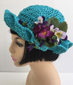 Hey, I found this really awesome Etsy listing at https://www.etsy.com/listing/231750914/turquoise-blue-summer-ladies-hat-with