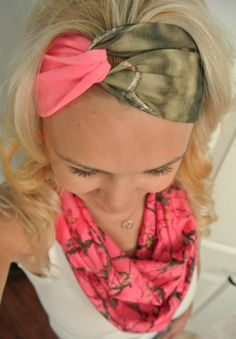Pink and Mossy Oak Turban Headband by TheCountryTrunk on Etsy