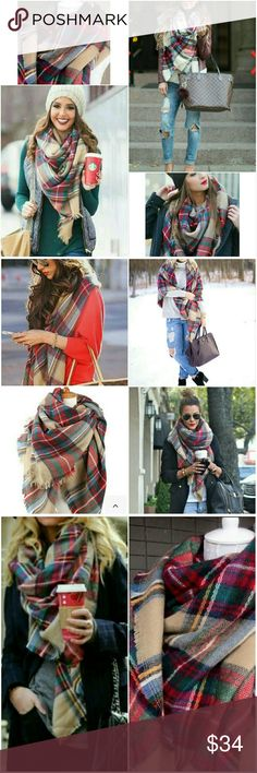 ⭐NEW! Luxe Oversized Tartan Plaid Blanket Scarf Wrap yourself up in this luxurious tartan plaid blanket scarf. Fall/winter style must have.. Best Seller!  Customer Favorite Rated 5⭐'s   Color as shown Camel, Red Plaid  Ultra Soft  Super Cozy & Warm 100% Ultra Soft Acrylic  Top Quality New in package   ▪ Price is Firm  ▪ No Trades  ▪ Fast Shipping Moda Ragazza Accessories Scarves & Wraps