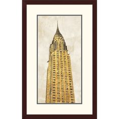 """Global Gallery 'Gilded Skyscraper I' by Joannoo Framed Graphic Art Size: 32"""" H x 20"""" W x 1.5"""" D"""