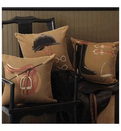 Pillows - Dressage Equestrian Gear Pillows in Tan - Organize.com - horse, equestrian, pillows,