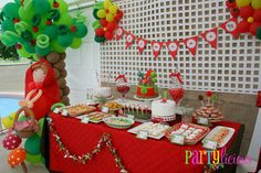 Little Red Riding Hood party dessert table - look at the balloon apple tree and girl!!!