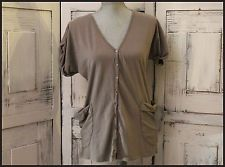 Anthropologie Velvet Button Down Gray Blouse Size S 100% Cotton Casual