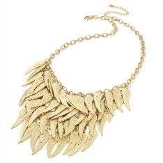 Naszyjnik Gold Colour WIth Leaf Drop