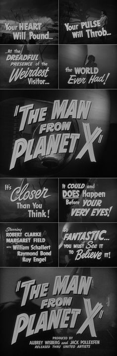 The Man from Planet X (1951) trailer typography