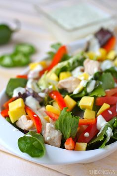 Sweet AND Spicy: Chicken & Mango Salad with Jalapeno-Honey Dressing #glutenfree #salad #saladdressing