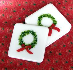 Christmas in July  Fused Glass Coasters by GreenhouseGlassworks, $25.00