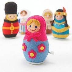Around the World Windup Felt Doll  Japanese craft by MeMeCraftwork, $32.00