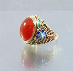 Vintage Sterling Chinese Enamel Filigree Ring Carnelian Size 6 by LynnHislopJewels on Etsy https://www.etsy.com/listing/246295973/vintage-sterling-chinese-enamel-filigree