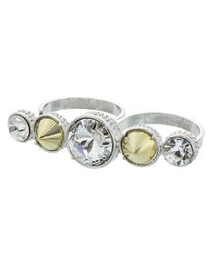 SPIKE & STONE TWO FINGER RING - ER0059-SILVER & GOLD CLEAR