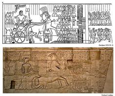 """Relief depicting the Horus Way at Tjaru. Egypt's eastern border is depicted in a relief of Pharaoh Seti I (1291–1279 BC) on the exterior of the Hypostyle Hall's north wall in the Karnak Temple of Amun in Luxor.A 3,400 year-old """"royal rest house"""" was unearthed during excavation work carried out at the ancient fortified city of Tell Habua near the Suez Canal, according to an official statement on the Antiquities Ministry's Facebook page Tuesday.   The fortress is one of other fortifications…"""