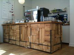 comptoir bar professionnel | Bois brut et acier brut : le style authentique de madinpariss