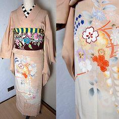 非常に珍しい刺繍とタンポポや藤の花柄訪問着?単衣着物 - ポップでガーリーな普段着物・ヘッドドレス・古道具・雑貨・アンティークやアーティスト作品の販売 『chiwachiwa ちわちわ』