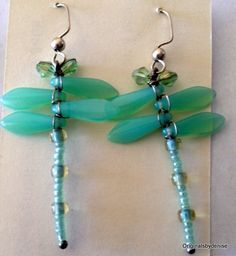 Dragonfly Earrings Milky Jade Czech Beaded by Originalsbydenise
