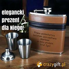 Piersiówka z kieliszkami - elegancki pomysł na prezent. Gwarantujemy, że wysoka jakość oraz doskonałe wykonanie sprawią, że będzie to ekskluzywny prezent dla dziadka, taty lub męża! http://bit.ly/1yQH20G