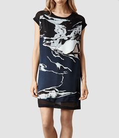 Womens Reverso Rip It Up Dress (Ink/Nude) | ALLSAINTS.com