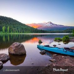 """Gotta get to boating next By @discoverearth """"Trillium Lake, OR 