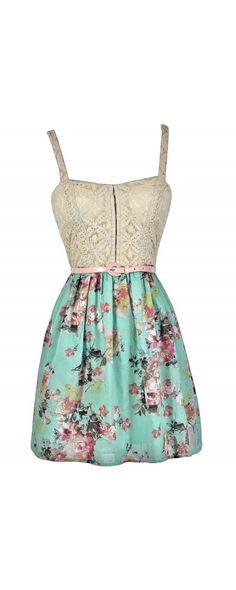 Spring Cottage Floral Print Lace Dress  www.lilyboutique.com