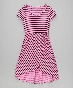 Another great find on #zulily! Splendid Neon Pink Stripe Hi-Low Dress - Girls by Splendid #zulilyfinds