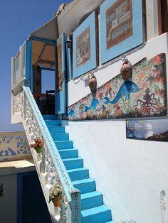 Tavern in Olympos, Karpathos Island, Greece Karpathos Greece, Greece Pictures, Greek House, Greece Islands, Stairway To Heaven, Travel Abroad, Macedonia, Albania, Bulgaria