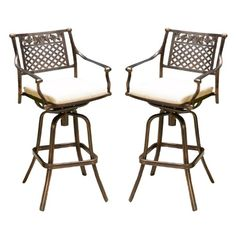 Sebastian Set of 2 Cast Aluminum Patio Barstool with Cushion - Copper - Christopher Knight Home Patio Bar Stools, Outdoor Bar Stools, Swivel Bar Stools, Aluminum Bar Stools, Aluminum Patio, Bars For Home, Foot Rest, It Cast, Cushions