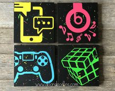 Custom silhouette canvas wall art featuring social media icons, video games, music - your choice cus Teen Game Rooms, Video Game Rooms, Video Games, Custom Canvas, Custom Wall, Hand Painted Canvas, Canvas Wall Art, Niklas, Game Room Decor