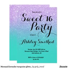 Photo sweet 16 once upon a time princess invitation kid party mermaid lavender turquoise glitter ombre sweet 16 invitation filmwisefo