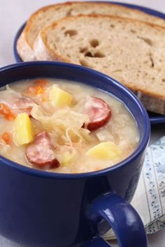 Hearty Czech Style Sausage and Cabbage Soup Slovak Recipes, Czech Recipes, Ethnic Recipes, Wine Recipes, Great Recipes, Cooking Recipes, Favorite Recipes, Cabbage Soup Recipes, Chowder Recipes