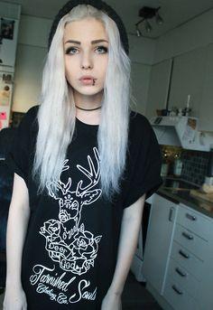 beautiful scene girls tumblrbeauty hair girl Black and White eyes white piercing perfect black 7oJ7JRxc