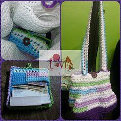 Purse of Triangles Crochet PDF Pattern Crochet inner Lining with hidden pocket. BONUS Wallet