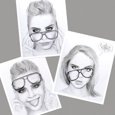 Series of graphite and charcoal pencil sketches of Cara Delevingne; by Mina Fordyce