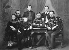 Emperor Alexander II of Russia and family, from left: Grand Duchess Marie, Grand Duke Paul, Grand Duke Alexei, Grand Duke Alexander, Grand Duke Sergei, Tsarevich Nikolai